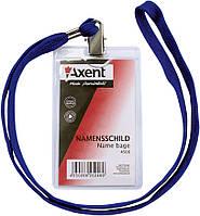 Бейдж вертикальний Axent 117х64мм на шнурке прозрачный 4506-A