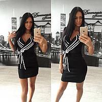 Платье черное из дайвинга с бейками размер 42-60