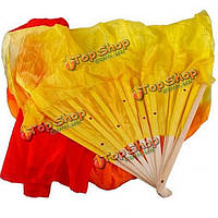 Веер-вейл бамбуковый для танца живота 1.8м Желто-красный