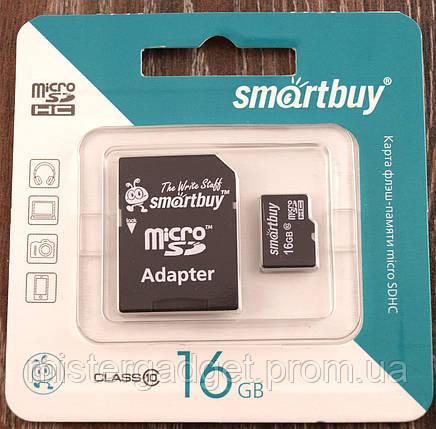 Карта памяти SmartBuy 16Gb Класс 10 MicroSD, фото 2
