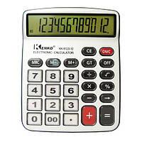 Настольный калькулятор kenko kk-9123, металлический корпус, 12-разрядный дисплей, прозрачные кнопки, 1*ааа, фото 1