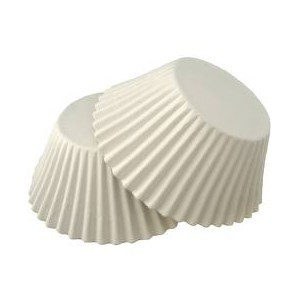 Бумажные (средние) тарталетки белые 25 шт. h-3 см
