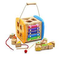 """Деревянная игрушка """"Куб"""" (сортер, счеты, ксилофон) арт. 23213"""