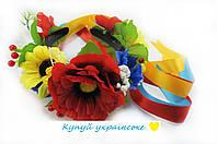 Обруч - венок Украинский Букет с лентами 163-1371835