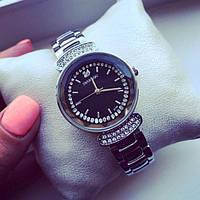 женские часы Svarovski  В 109 в серебре с черным циферблатом
