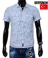 Рубашка мужская с коротким рукавом хлопок,серая