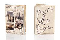 Кожаная обложка на паспорт Города Европы 156-1552945