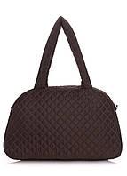 Дутая сумка саквояж коричневая Рoolparty 166-1653489