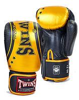 Перчатки боксерские кожаные TWINS FBGV-TW4-BKG черно-золотой 10,12,14 oz(оригинал)