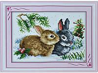 Набор для вышивки картины Зайчики 31х25см 373-37010691