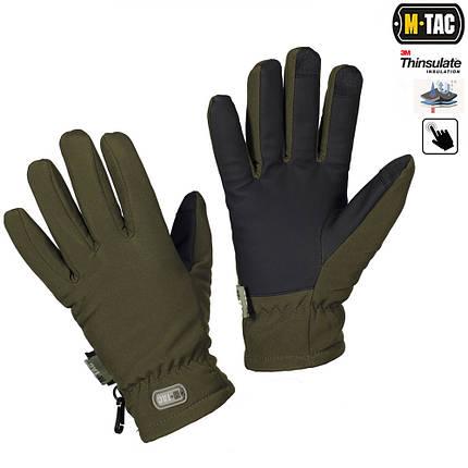 Зимние перчатки Soft Shell Thinsulate оливковые, фото 2