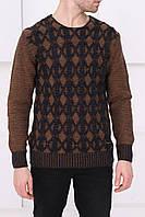 Мужской коричневый свитер с узорами
