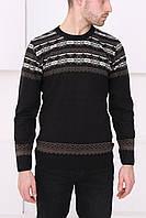 Мужской свитер темно-коричневый с узорами