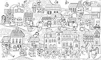 Обои - раскраски Миньоны в городе 60х100см 201-19812850