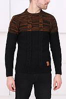 Мужской черный свитер с оранжевым