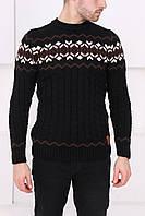 Мужской черный свитер с узорами
