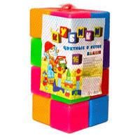 Кубики цветные 16шт 111/1 БАМСИК  в сетке