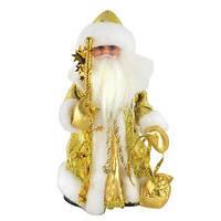 Новогодняя игрушка Дед Мороз золотистый музыкальный 346-21516120