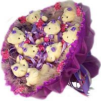 Букет из мягких игрушек 9 белых мишек в фиолетовом