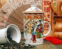 Кружка - заварник с ситечком и крышкой Китай 88-8716303