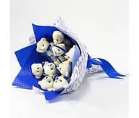 Букет из игрушек Мишки 9 синий Крафт