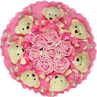 Букет из мягких игрушек Мишки белые 7 в розовом 5155