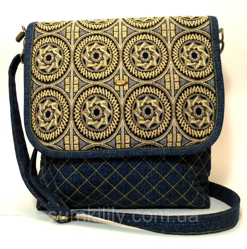 Женская джинсовая сумочка Солнце, фото 1