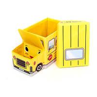 Пуф-ящик для игрушек Автобус желтый 227-18918596