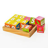 Деревянная игрушка Кубики MD 0502 (36шт) русский алфавит, цифры, в коробке, 16_12,5_4см