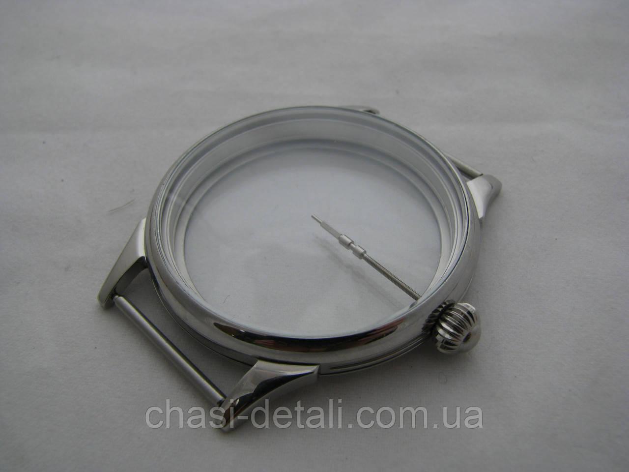 Корпус + головка и вал для часов Молния, низкая Молния 3601. 15 камнейСтальной. Диаметр 43,00мм. Часы Молния