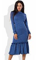 Синее платье-футляр миди из ангоры софт