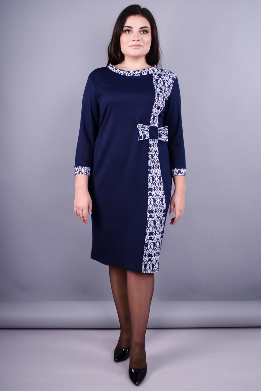 9be4d4db473 Монако. Красивое платье плюс сайз. Синий+орнамент. - Интернет-магазин