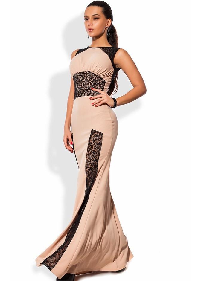 Бежевое платье в пол со вставками из гипюра