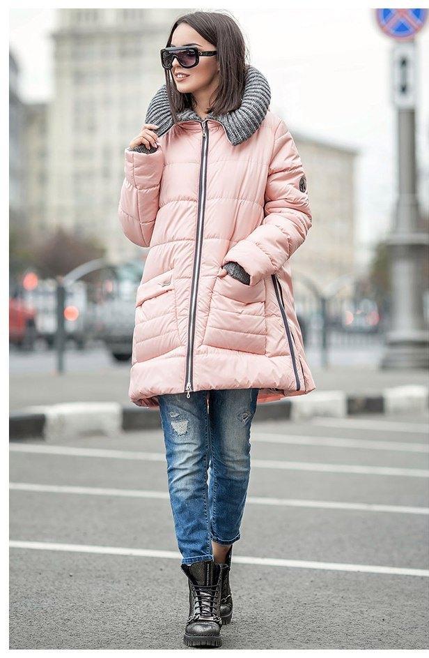 Зимняя женская куртка розового цвета с вязаным капюшоном Санта