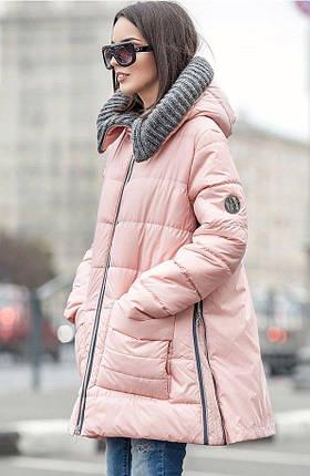 Зимняя женская куртка розового цвета с вязаным капюшоном Санта, фото 2