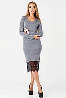 Стильное платье  из мягкой ангоры и кружева РД 1736