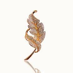 Жіноча брошка Золоті листя з камінням Сваровські позолота 18К