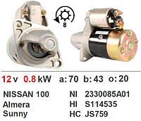 Стартер NISSAN 100, Almera 1.4, Almera 1.6, Sunny 1.4, Sunny 1.6