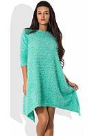 Платье разлетайка из ангоры-травки ментоловое