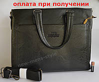 Мужская кожаная брендовая сумка через плечо для документов портфель