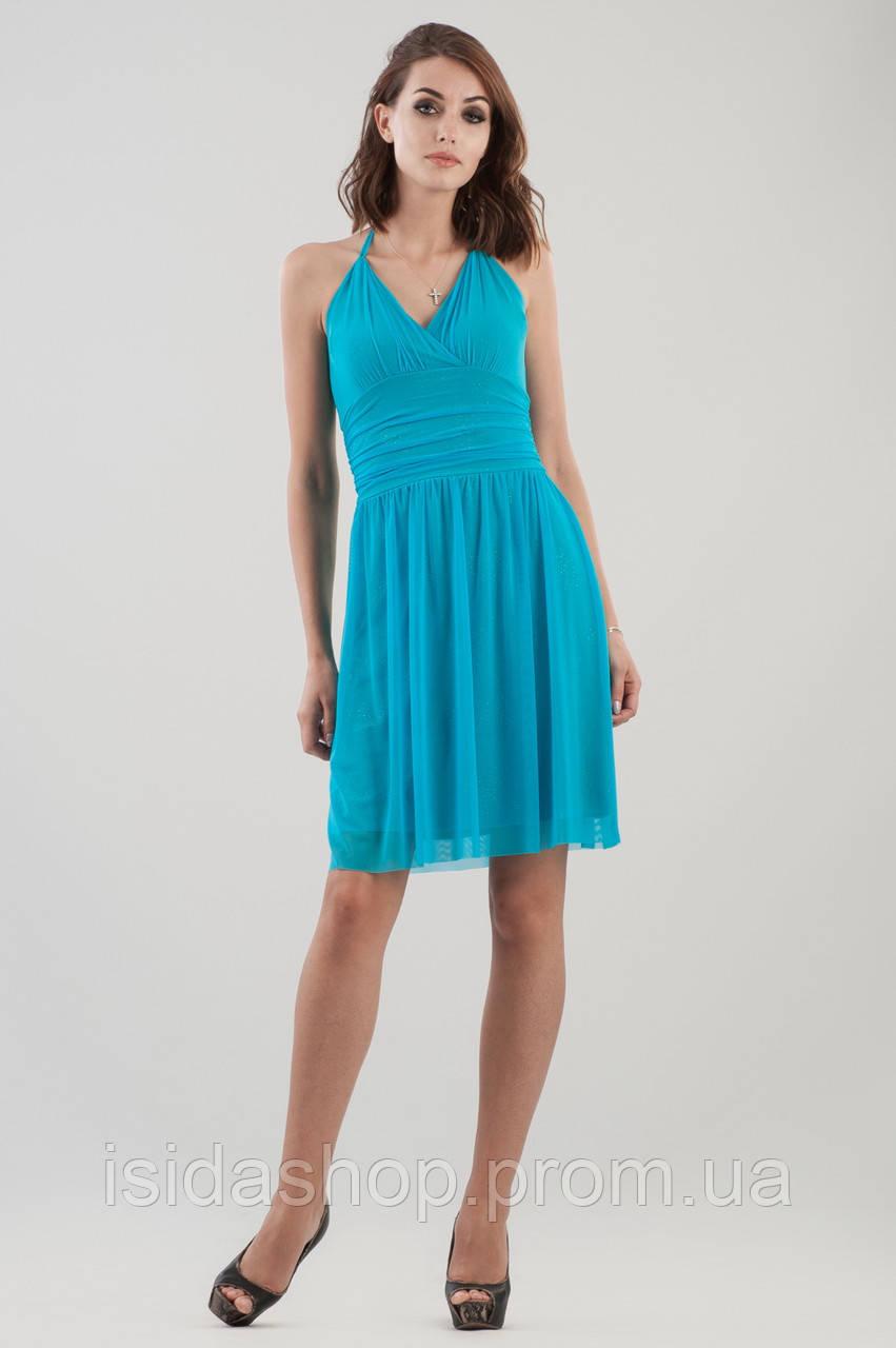 91e72e499f7 Платье бирюзовое коктейльное с пышной юбкой и открытой спиной - Интернет-магазин