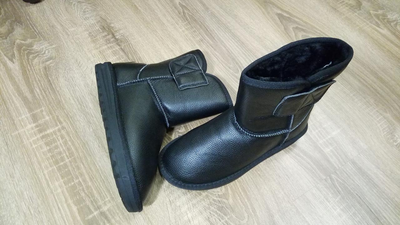 Черные кожаные Угги унисекс реплика UGG