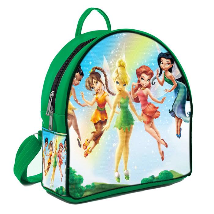 Зеленый детский рюкзак с принтом Мультфильм Феи Диснея и Динь Динь