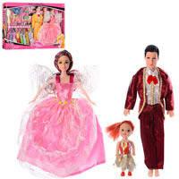 Набор кукол семья с одеждой и аксессуарами 1382-1A  2 вида