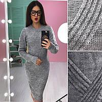 Вязаная женское платье туника Кира, серый, фото 1