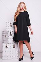 Женское модное платье-клеш черное с открытой спинкой,большие размеры Лагуна-Б д/р