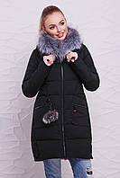 Молодежный зимний черный пуховик с мехом на капюшоне и помпоном, зимняя куртка 17-61