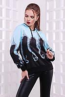 Модная теплая кофта-худи с капюшоном голубая, принт Осьминог кофта Барни2 д/р