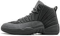 Женские высокие кроссовки Nike Air Jordan 12 Найк Аир Джордан серые