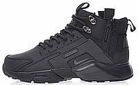 Мужские зимние кроссовки Nike Huarache Acronym Concept Black высокие Найк Аир Хуарачи Акроним черные